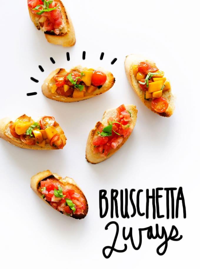 Two bruschetta ideas on toast on a white background