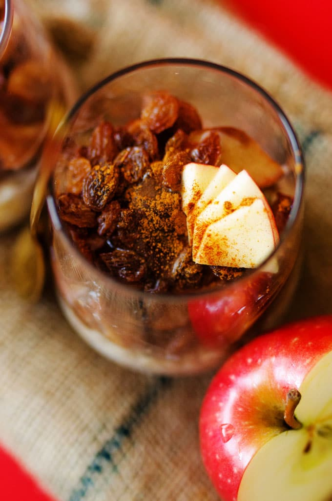 Apple overnight oats in a glass