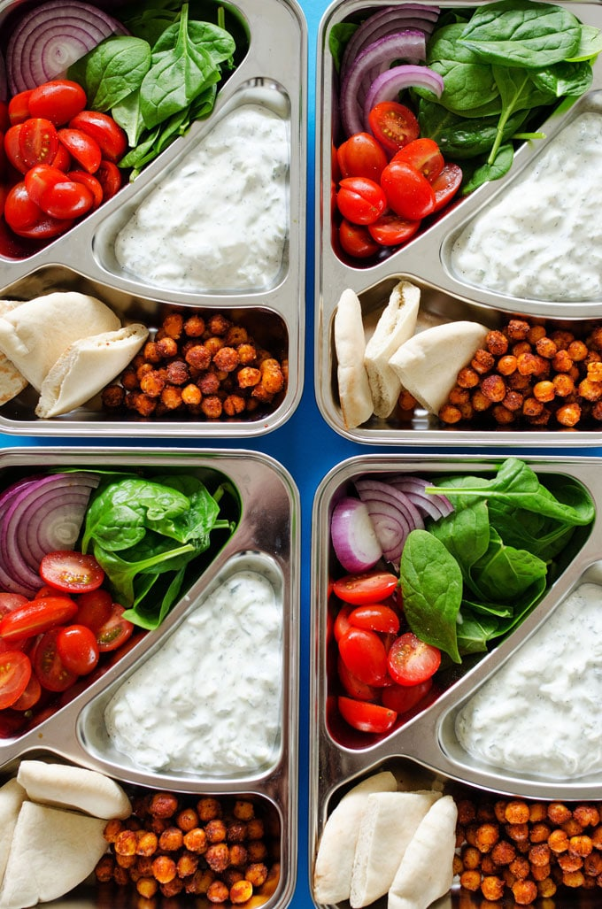 Ditch boring sandwiches and make yourself somethingseriously deliciousfor lunch with theseChickpea Gyro Vegetarian Meal Prep Lunch! In under30 minutes, you'll ultra-tasty and way-healthy lunch ready for the week.