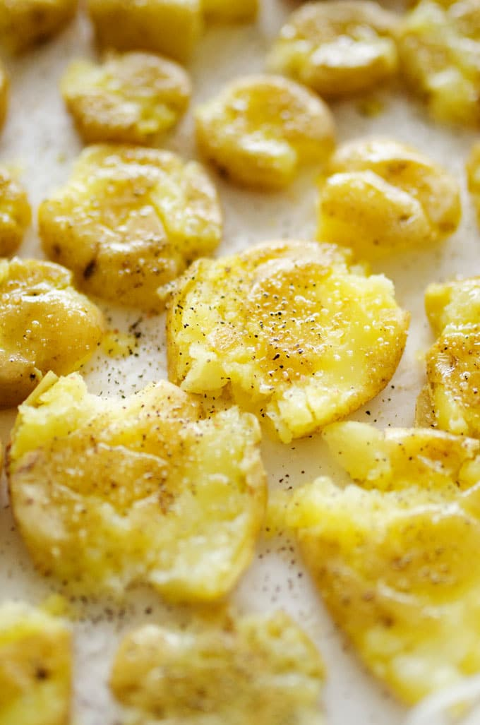 Boil, smash, then bake. Dinner tonight is looking tasty with these easy Smashed Potatoes!