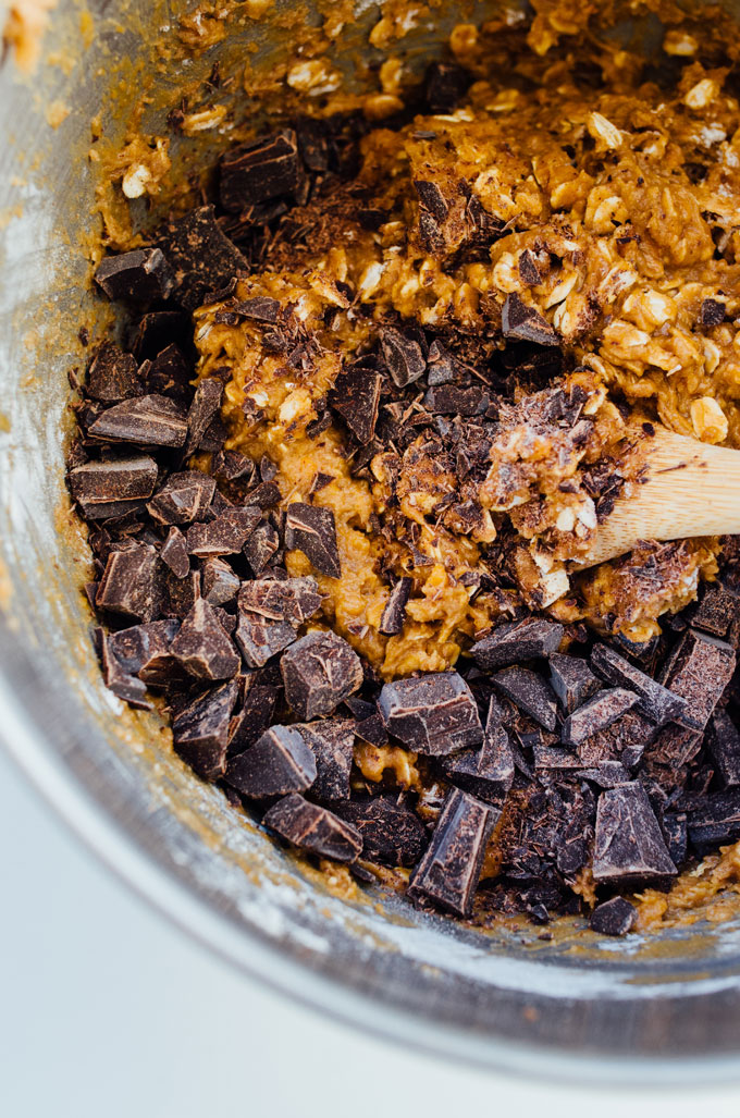 Chocolate chip cookie dough in a mixing bowl - Need a healthy cookie recipe that's just as moist and delicious as your old favorites? This Sweet Potato Cookie recipe with chocolate and oats has you covered.