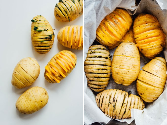 How to make potatoes in a crockpot before and after Change up the routine and make these easy hasselback potatoes for dinner tonight! We're whipping up three tasty flavors: vegan nacho, herb, and loaded.