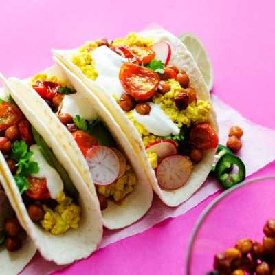 Tacos on a pink background
