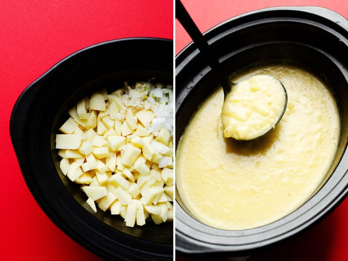 Potato soup in a white bowl on a cutting board on a red background - This Healthy Slow Cooker Potato Soup is a lower calorie, vegetarian alternative (that doesn't compromise on flavor one bit!) Loaded with smoky roasted chickpeas, Greek yogurt, and sharp cheddar.