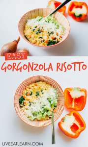 Risotto is a pretty under appreciated dinner, considering the amount of flavorful creamy goodness it packs into one bowl. With two cheeses, spinach, green onions, and lemon, this Pepper and Gorgonzola Risotto is no exception!