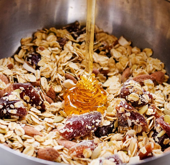 This Salted Caramel Granola can be made two ways: healthy or indulgent! But whichever your choice, this breakfast is packed with whole grains, nuts, and seeds.