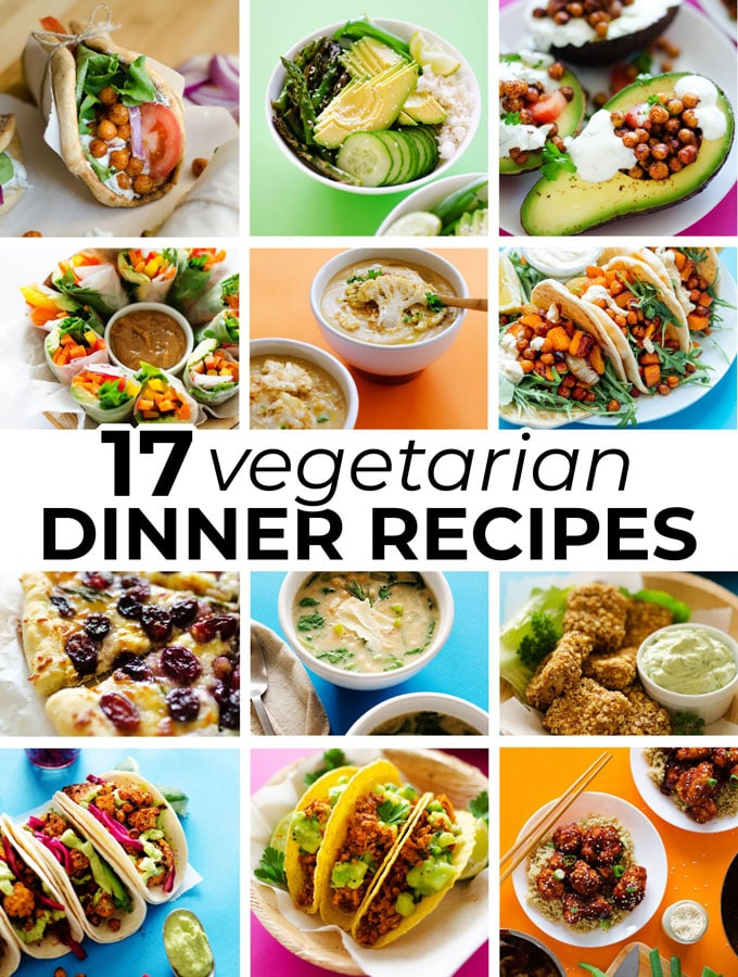 17 reader-favorite easy vegetarian dinner recipes that can be made quickly and with easy-to-follow steps.