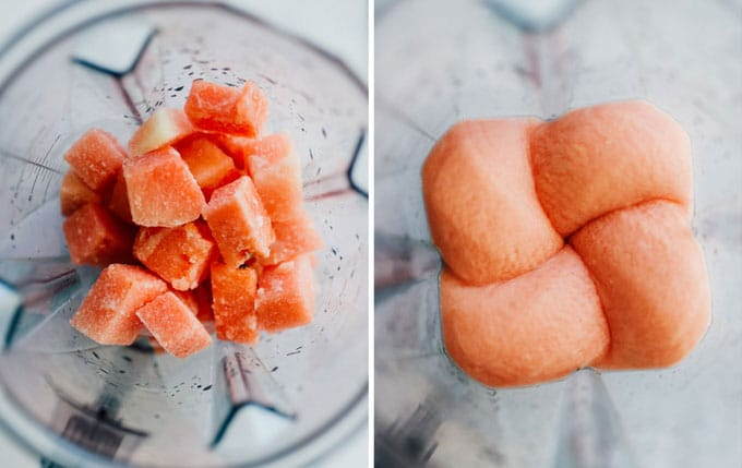 Collage of slushy looking into blender - For when you're craving a cocktail that can cool you off in the summer heat, this Frozen Watermelon Daiquiri is the answer, taking almost no time to prepare (and with just a handful of ingredients)!