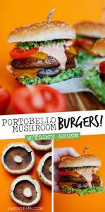Portobello Mushroom Burgers with an orange background - With melted sharp cheddar, the perfectly meaty texture, and best-ever Fancy Sauce, these Portobello Mushroom Burgers are the vegetarian recipe that'll have you craving mushrooms for dinner.