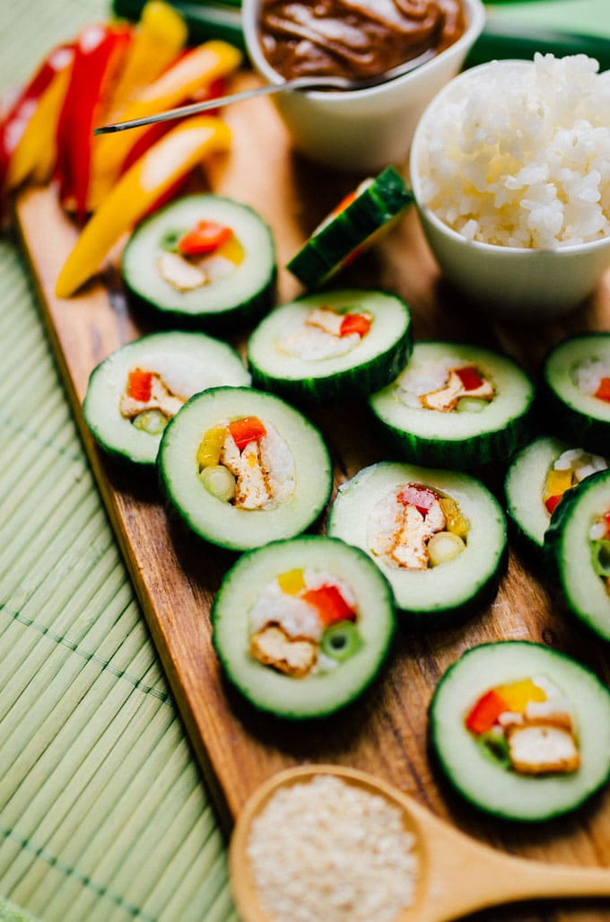 Vegan Stuffed Cucumber Sushi Roll Just Stuff And Slice