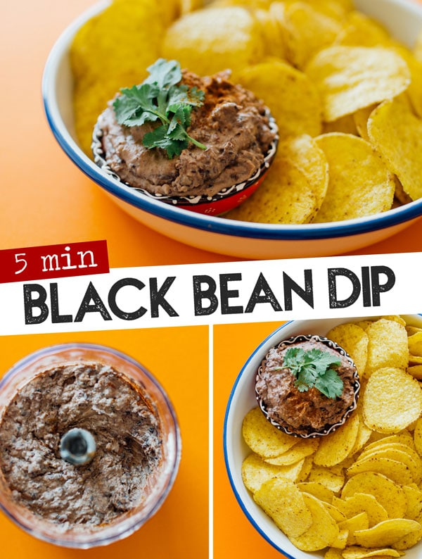 For when you need a tasty tortilla chip dip recipe but don't have more than 5 minutes to spare, this Easy Black Bean Dip recipe is coming to the rescue. Perfect for bringing to potlucks or BBQs, this easy homemade dip idea is full of flavor and quick to make. #CincoDeMayo #beans #dips #appetizers #healthyrecipes #vegetarian #glutenfree