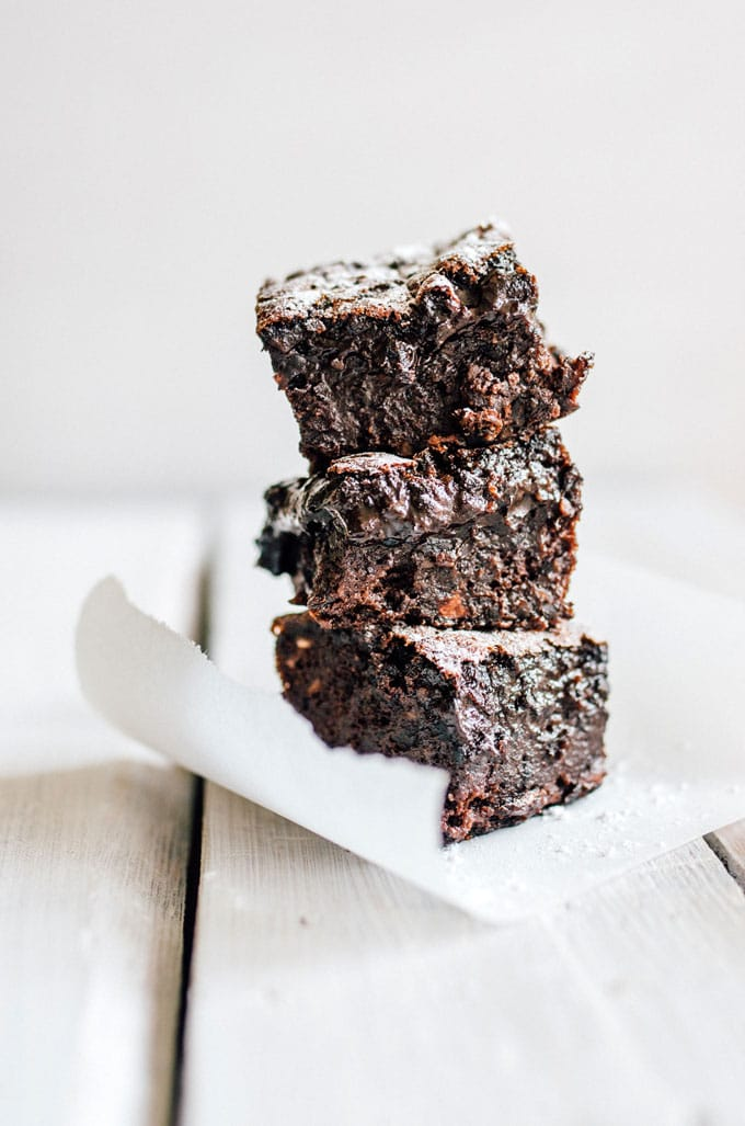 Fudgy Black Bean Brownies recipe on a white table