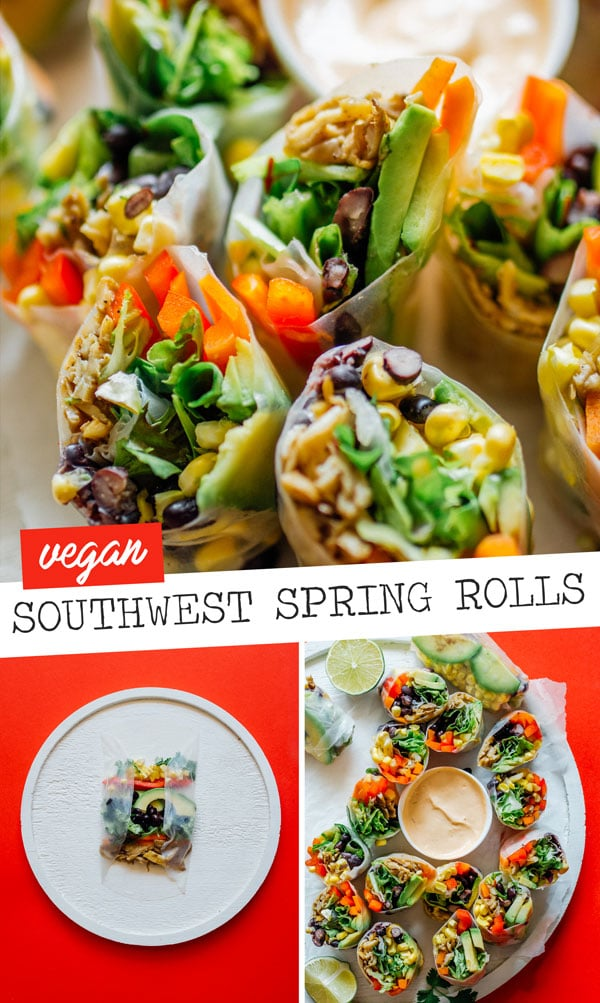 This vegetarian (with vegan options) Southwest Spring Rolls recipe is packed with fresh vegetables and dipped in a smoky chipotle sauce. Showing you how to roll spring rolls easily at home to make this healthy dinner (that's full of flavor and fun for the whole family). #vegan #vegetarian #healthyrecipe #springrolls #glutenfree #texmex