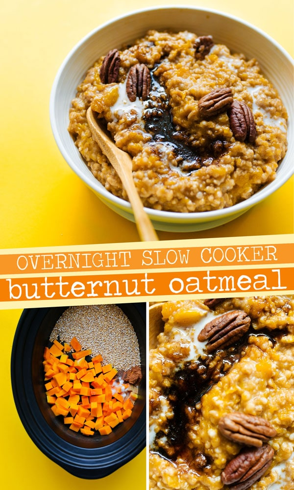 Looking for a bone-warming fall breakfast recipes that's as easy as it is tasty? This Crockpot Steel Cut Oatmeal with Butternut Squash is your answer, filling your house with the warm aroma of autumn and cooking into creamy perfection while you sleep! A flavor packed healthy breakfast your family is going to love. #vegetarianrecipes #breakfastrecipes #veganrecipes #healthybreakfast #healthyrecipes #oatmeal #slowcookerrecipes #crockpotrecipes