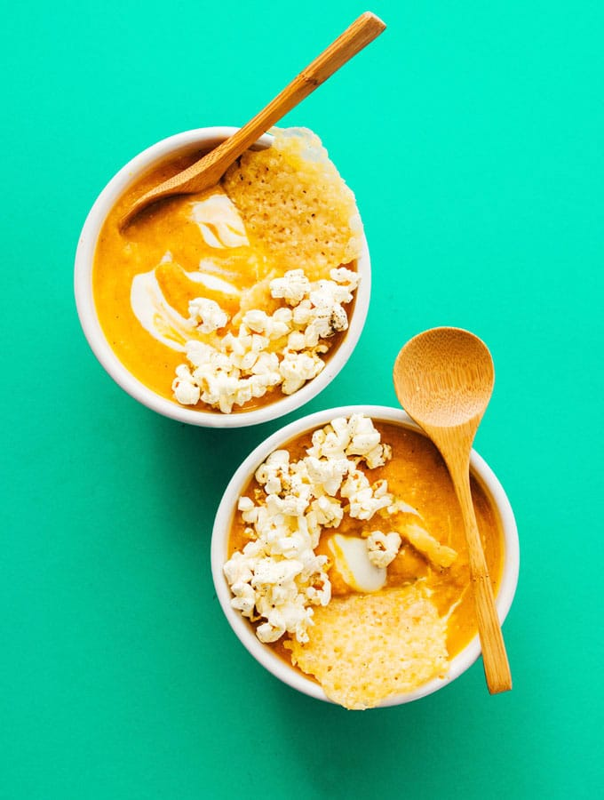 Easy Pumpkin Soup with Parmesan Popcorn Crunch