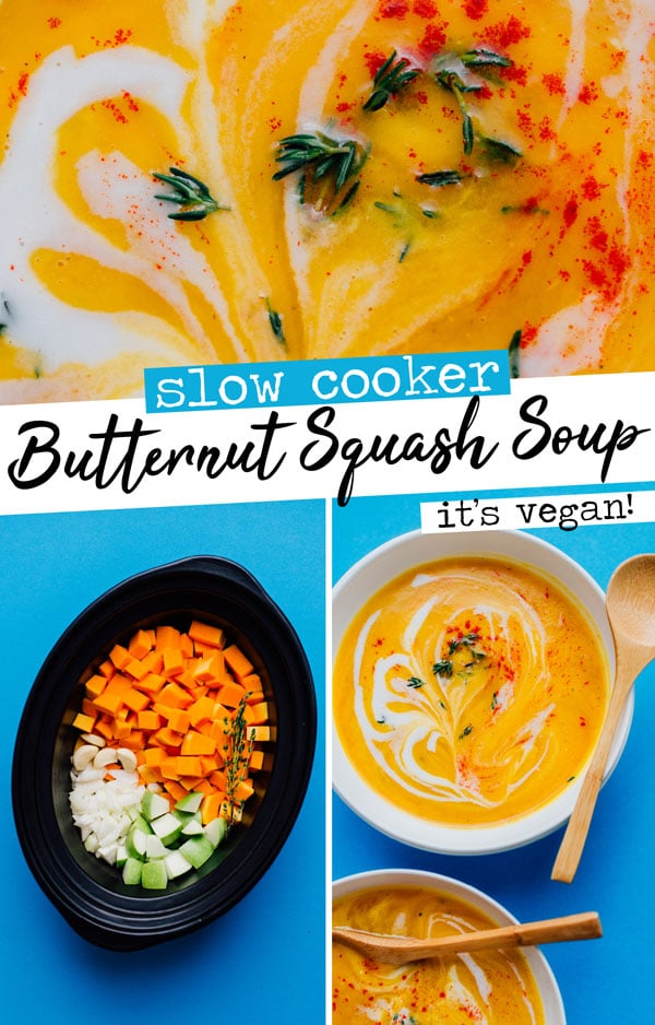 This Slow Cooker Vegan Butternut Squash Soup recipe is a hands-off and delicious soup for cold fall or winter days (bonus: it makes your house smell amazing!) The perfect easy dinner or Thanksgiving soup recipe. #vegetarianrecipes #veganrecipes #souprecipes #thanksgivingsoup #thanksgivingrecipes #crockpot #slowcooker #pumpkin #butternutsquash