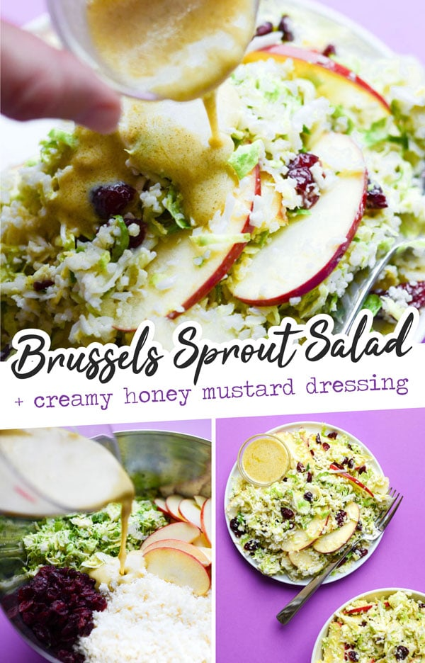 This Shaved Brussels Sprout Salad recipe is a chop it and toss it kind of dish, with sliced apples, dried cranberries, riced cauliflower, and shaved fresh Brussels sprouts. It's all tied together with the most creamy honey mustard dressing, and ready in under 15 minutes! #easydinner #healthyrecipes #glutenfreerecipes #vegetarianrecipes #holidayrecipes #cauliflower #brusselssprouts #saladrecipes