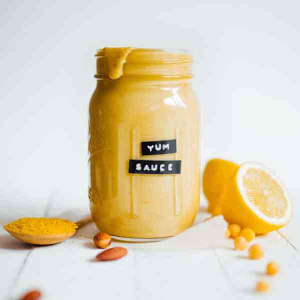 This Vegan Yum Sauce if my take on the sauce made popular at Cafe Yumm. It's creamy, full of flavor, and has a healthy dose of protein!