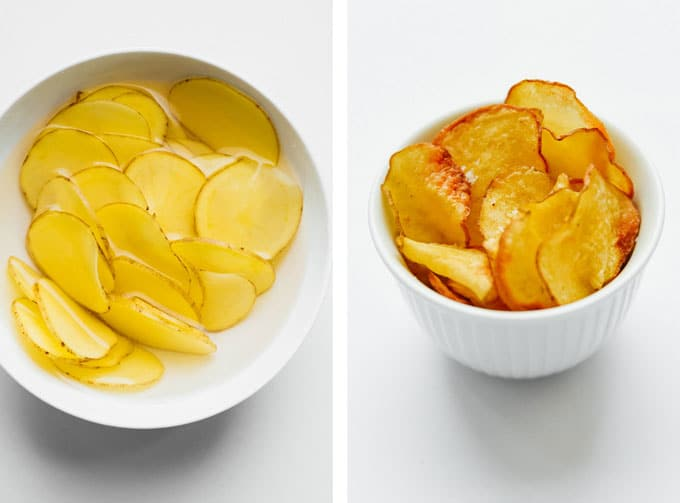 Homemade air fried potato chips on a white background - The ultimate guide on how to cook air fryer potatoes! How to make roasted potatoes, homemade French fries, and potato chips in your air fryer, using both white potatoes and sweet potatoes.