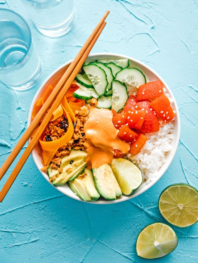 "6. Tomato ""Tuna"" Sushi Bowl"