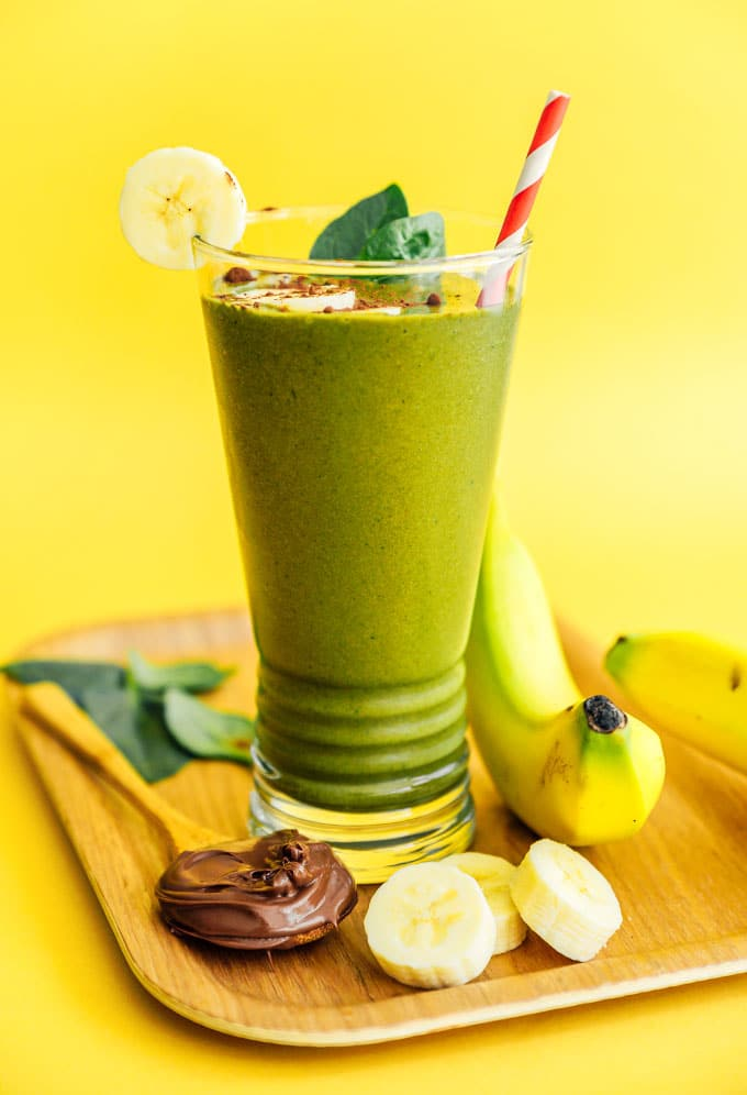Nutella smoothie with spinach in a glass