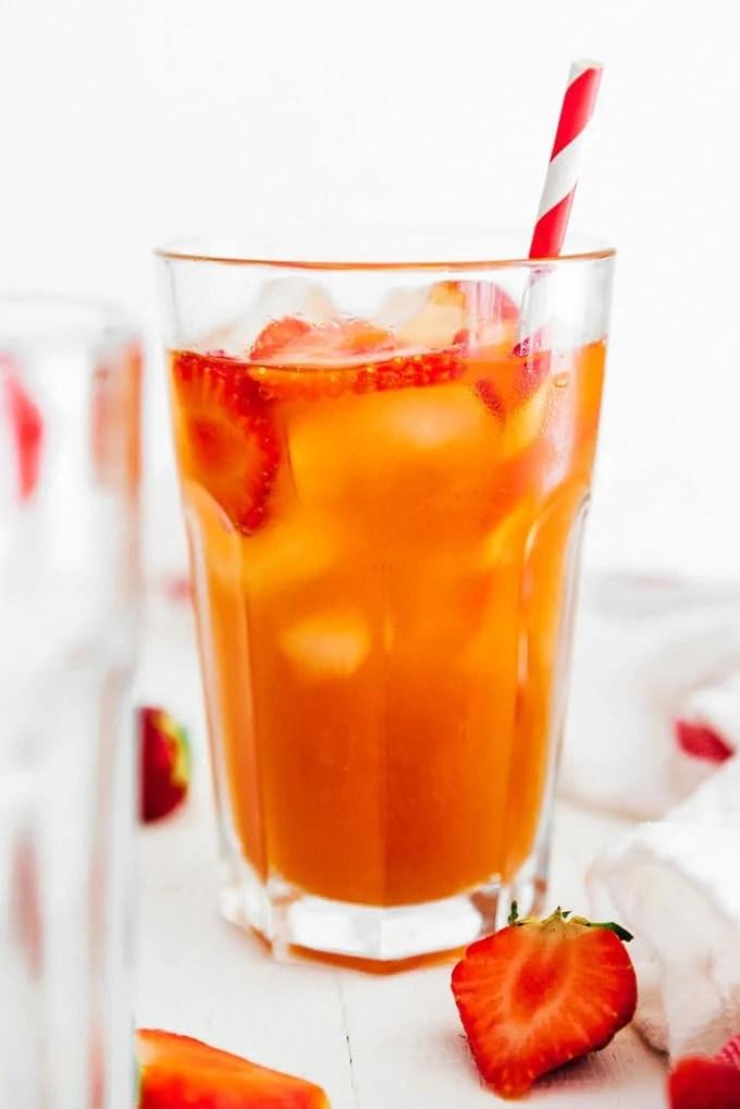 Strawberry kombucha in a glass