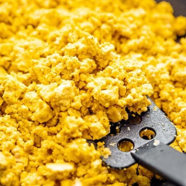 Close-up photo of yellow tofu scramble vegan eggs