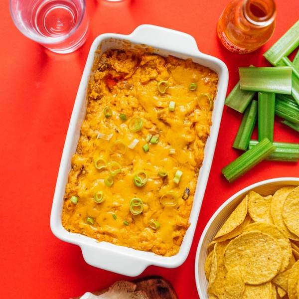 Vegetarian buffalo chicken dip in a pan
