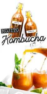 Mint lime kombucha in fermentation bottles
