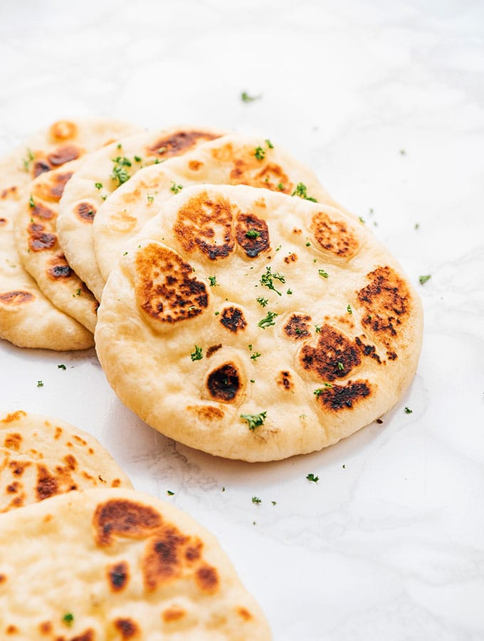 naan bread on a marble background
