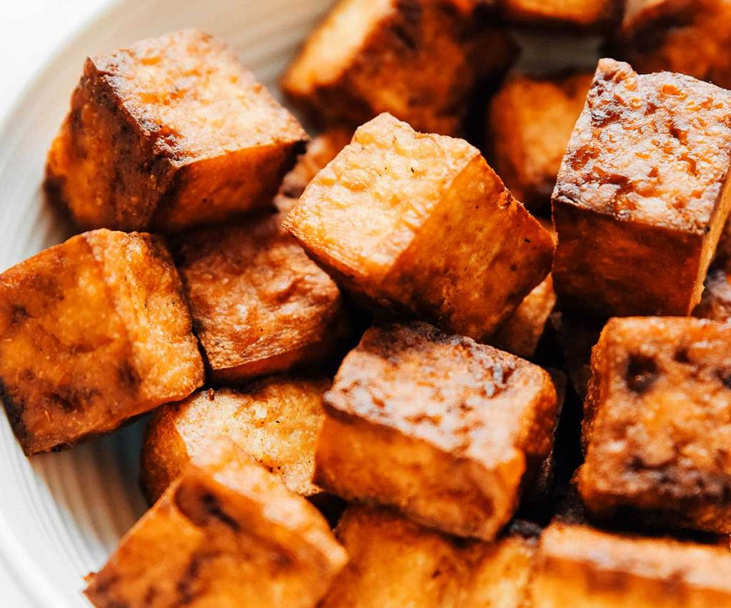 Close up detail shot of crispy air fryer tofu
