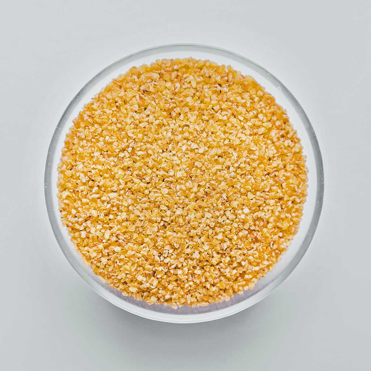 Bulgur grains in a bowl