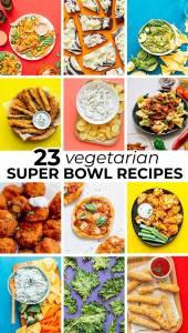 Collage of vegetarian super bowl recipes