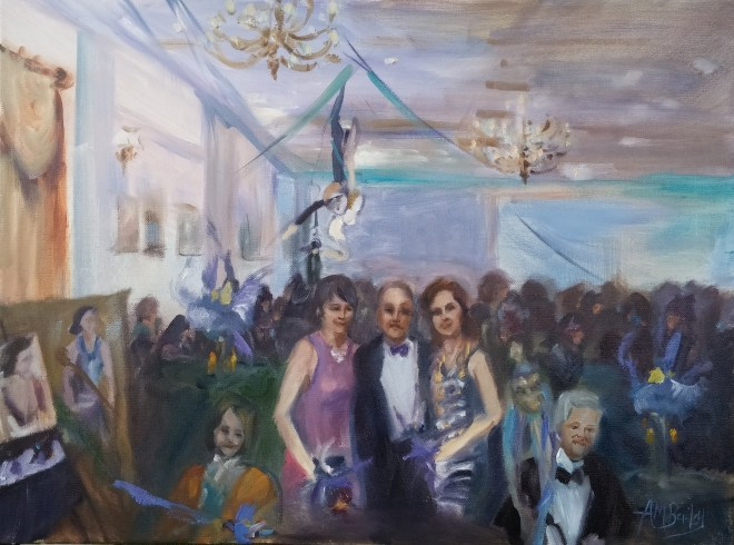 Live art and Mardi Gras 2016 Event painting by Ann Bailey