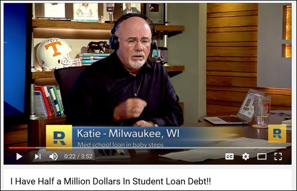 Dave Ramsey Call - Half Million in Student Loan Debt