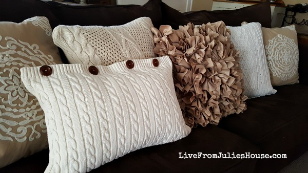 Thrift Store Sweater Pillow Covers  - Create cozy pillow covers out of thrift store sweaters with my easy tutorial - no major sewing skills required.