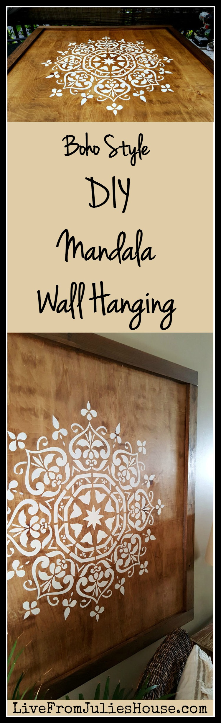 Boho Style DIY Mandala Wall Hanging - Want to add a dramatic boho style piece of art to your walls without breaking the bank? Check out my DIY Mandala Wall Hanging tutorial.