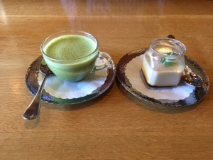 Sushi Taro - Matchaccino and Hoji-cha Pudding