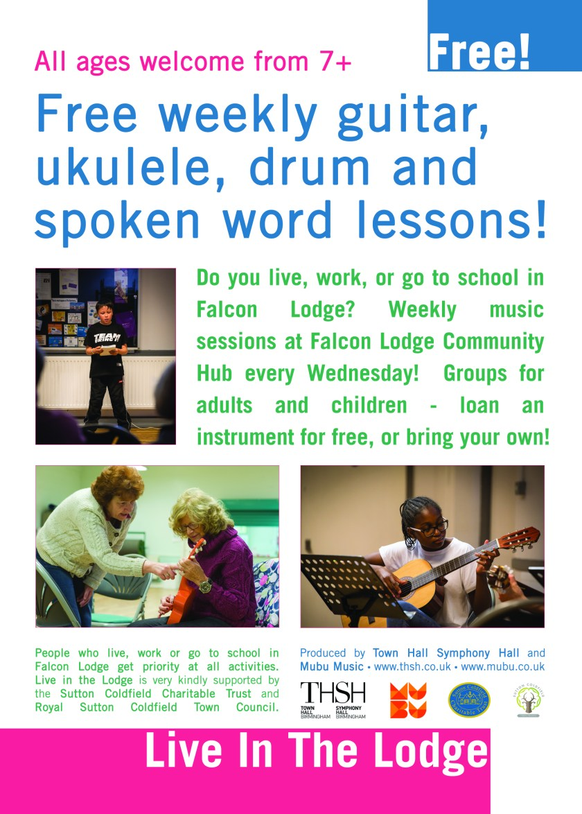 Free Falcon Lodge Ukulele Guitar Drum lessons Sutton Coldfield Birmingham
