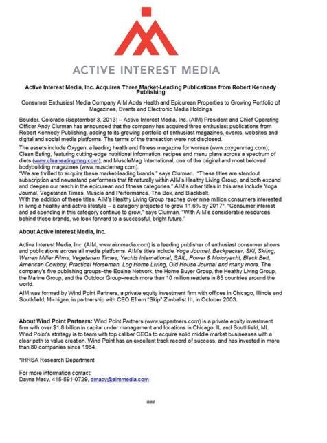 press release active interest media
