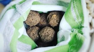 Seedbombs oder Samenbomben selber machen fertige Samenkugeln im Stoffbeutel