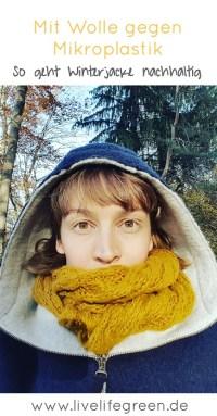 Pinterest-Pin: Nachhaltige Winterjacken aus Wolle gegen Mikroplastik