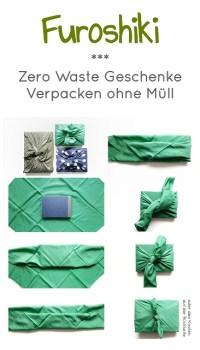 Pinterest-Pin: Furoshiki Zerowaste-Geschenke verpacken ohne Müll