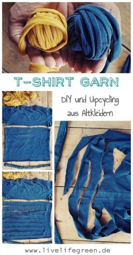 Pinterest-Pin: T-Shirt Garn aus Altkleidern selbermachen