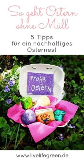 Pinterest-Pin: Tipps für Zero Waste Ostern mit einem Osternest ohne Plastik