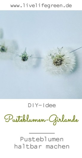 Pinterest-Pin: Pusteblumen-Girlande, Pusteblumen haltbar machen DIY Deko-Idee