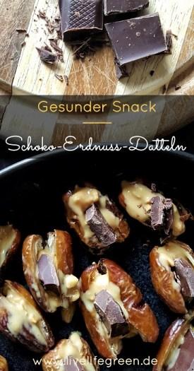 Pinterest-Pin: Schoko-Erdnuss-Datteln gesunder Snack und leckere Nervennahrung