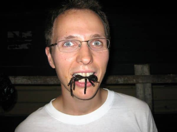 eating fried tarantula