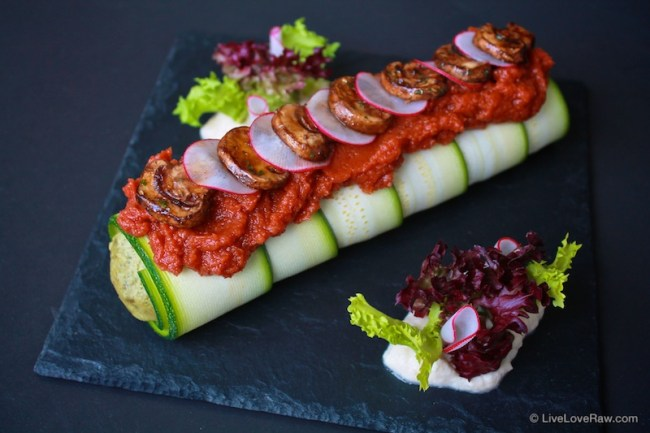 Raw vegan cannelloni with tomato sauce and mushrooms by Anya Andreeva, Live Love Raw