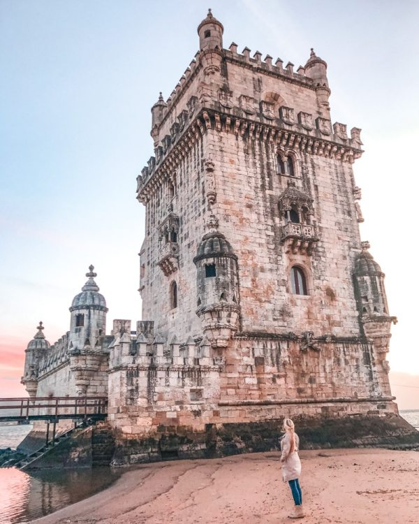Belem Tower at sunset. Find the best places in Lisbon for Instagrammable photos and when to go to get them to yourself!